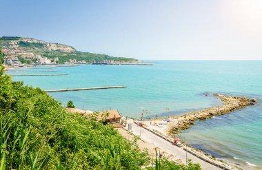 View of Black Sea coastline in Balchik, Bulgaria stock vector