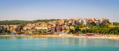 Coastline and public beach in Black Sea resort town of Sozopol, Bulgaria stock vector