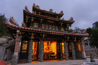 Night view of a temple in Kinmen