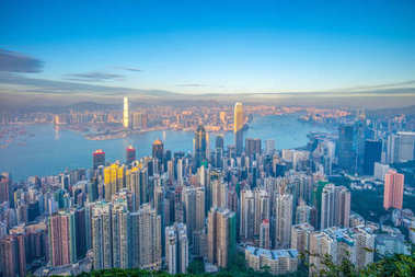 aerial view of hong kong from victoria peak