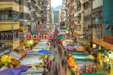 Hong kong, China - November 27, 2017: Fa Yuen Street Market, a very popular place for bargain shopping as well as to buy any type of sports shoes