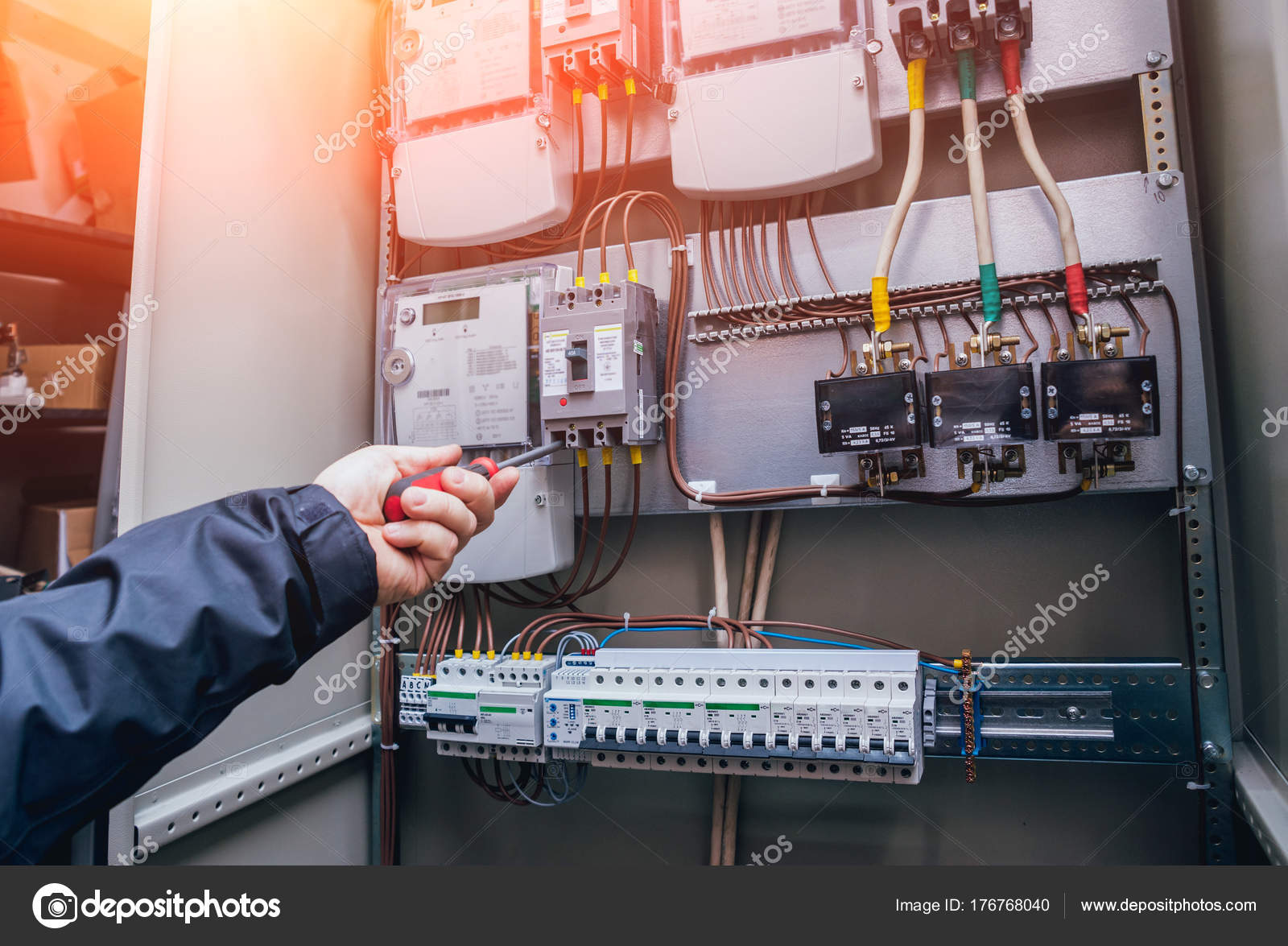 wires switches electric box electrical panel fuses contactors — stock photo