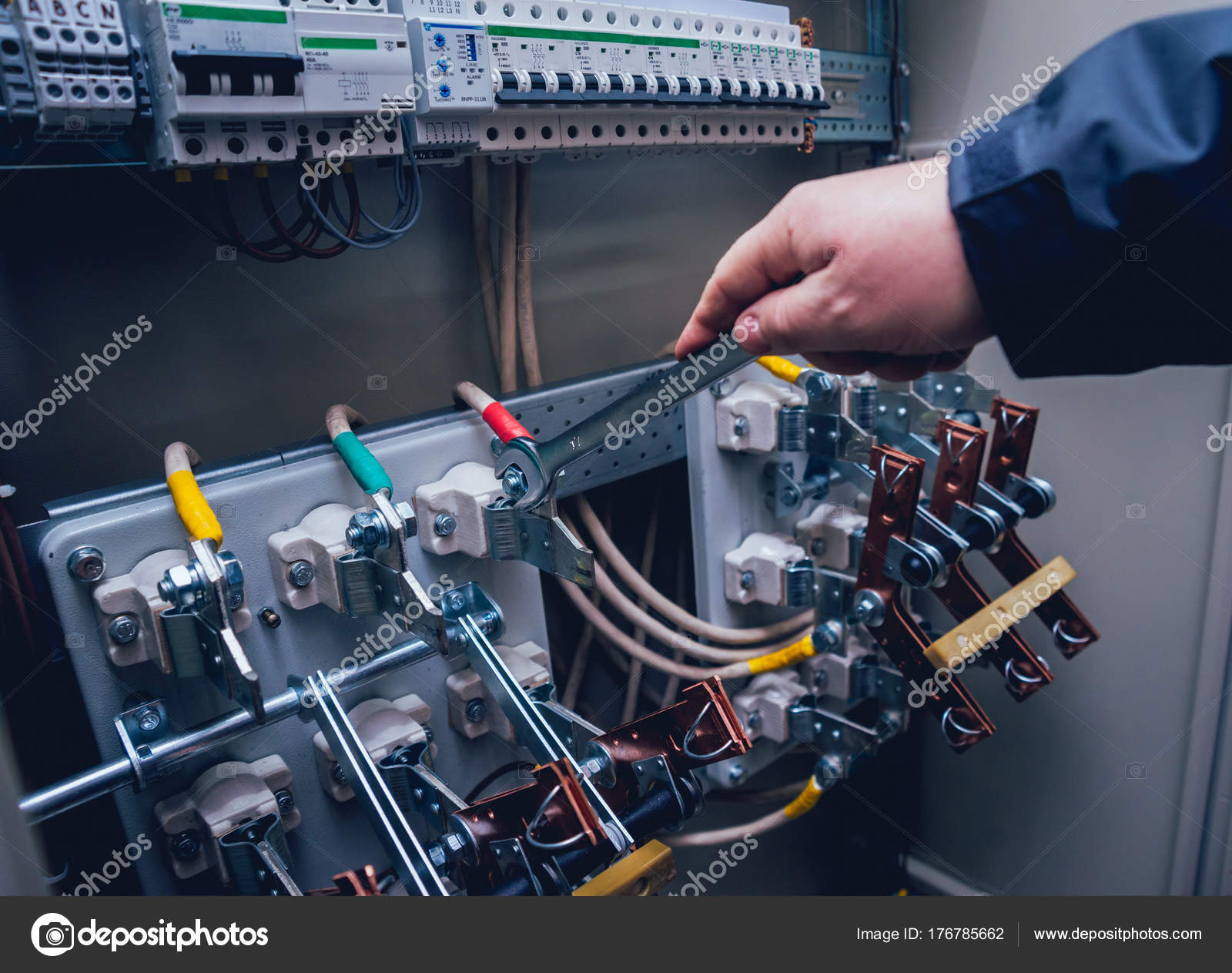 electricians hands testing switches electric box electrical panel fuses  contactors — stock photo
