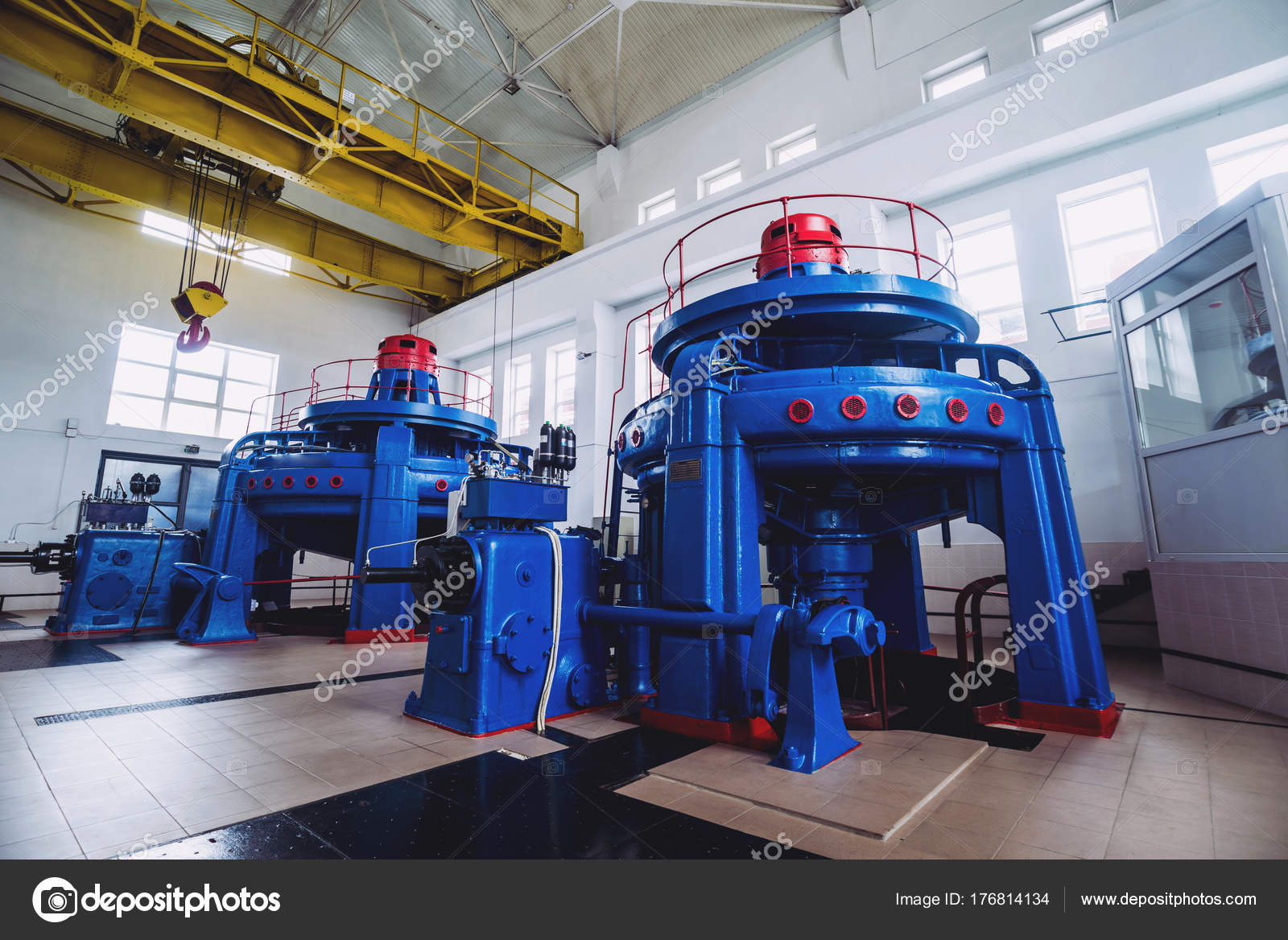 power plant generators. Turbine Generators Hydroelectric Power Plant Interior \u2014 Stock Photo