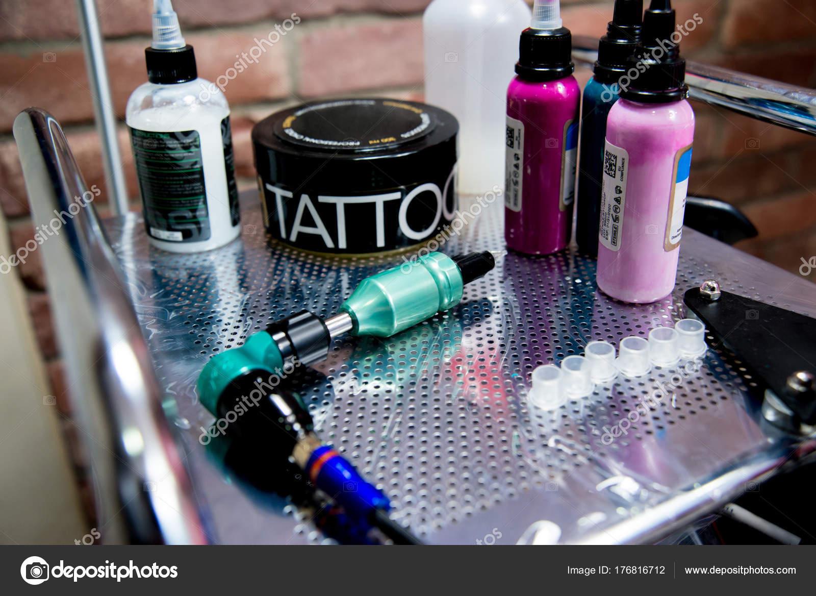 Tattoo Accessories Equipment Tattoo Studio Close — Stock Photo ...