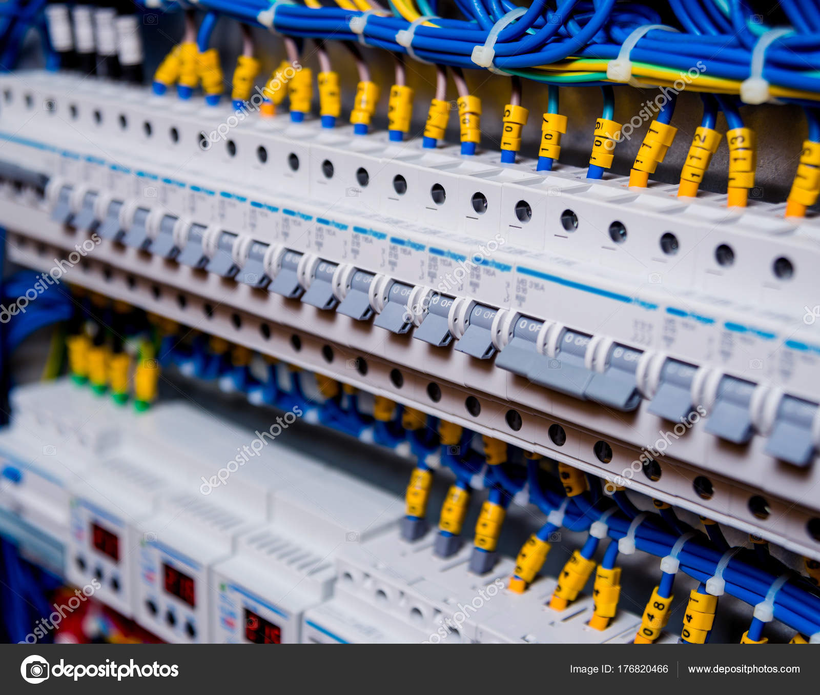 Voltage Switchboard Circuit Breakers Stock Photo Romaset 176820466 Circuitry Of An Electronic Calculator Royalty Free Photography