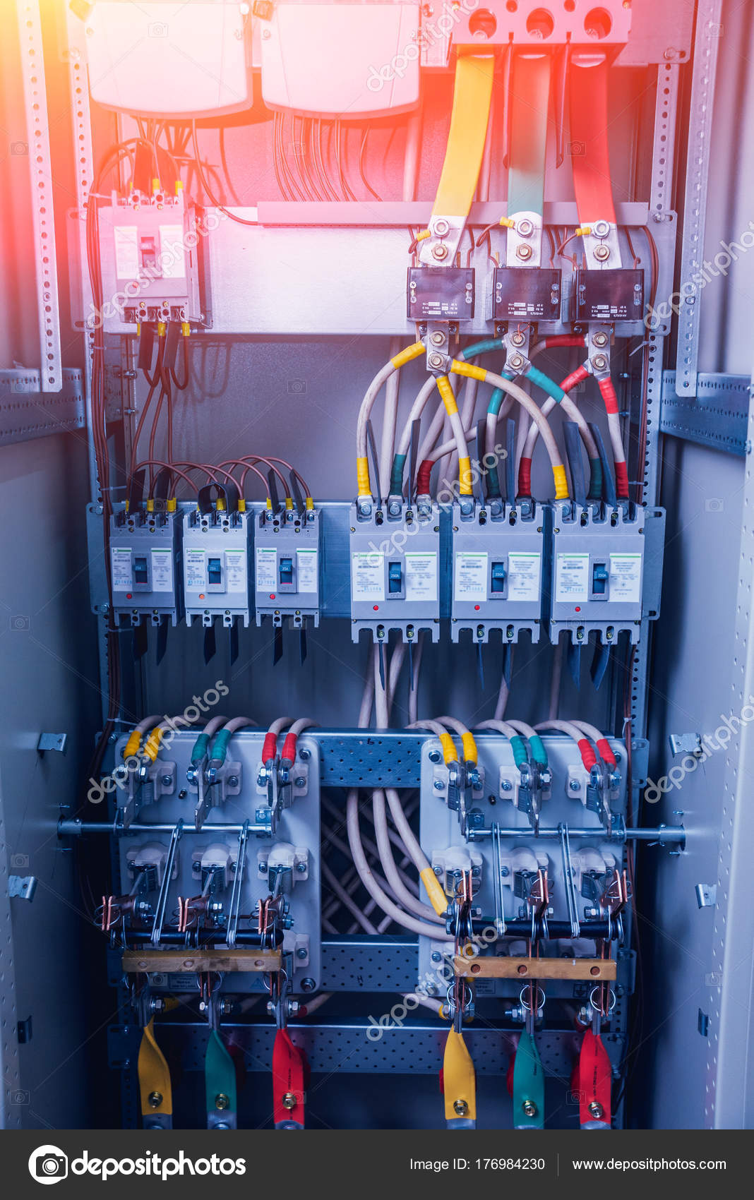 Wires Switches Electric Box Electrical Panel Fuses Contactors Contactor Wiring Stock Photo