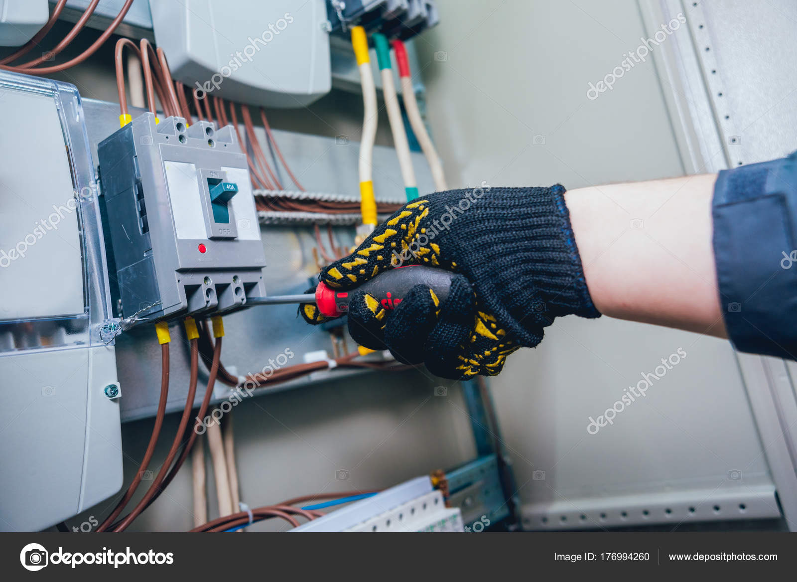 Electricians Hands Testing Switches Electric Box Electrical Panel Wiring Sub Fuses Contactors Stock Photo