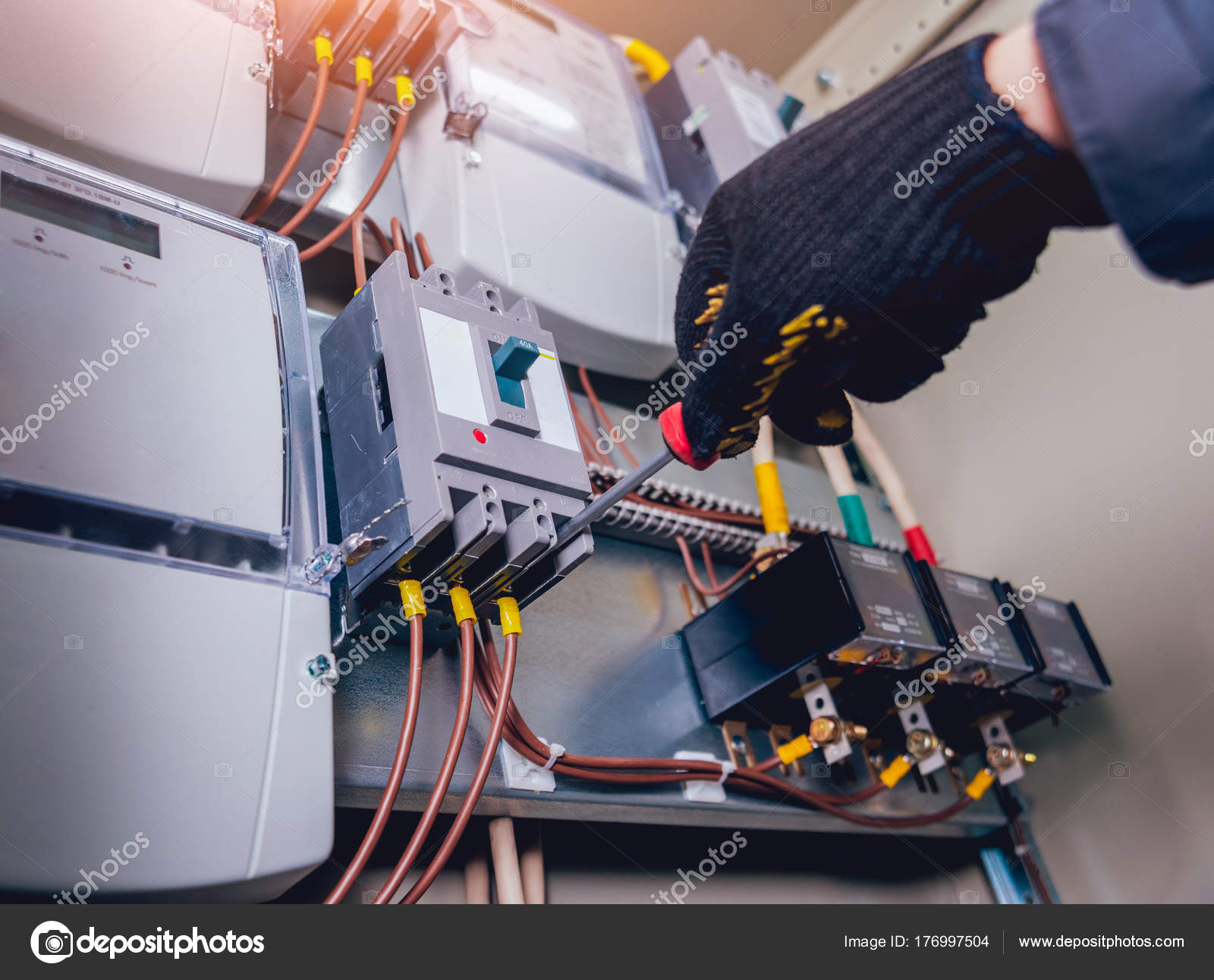 Electricians Hands Testing Switches Electric Box Electrical Panel Fuse Boxes Fuses Contactors Stock Photo