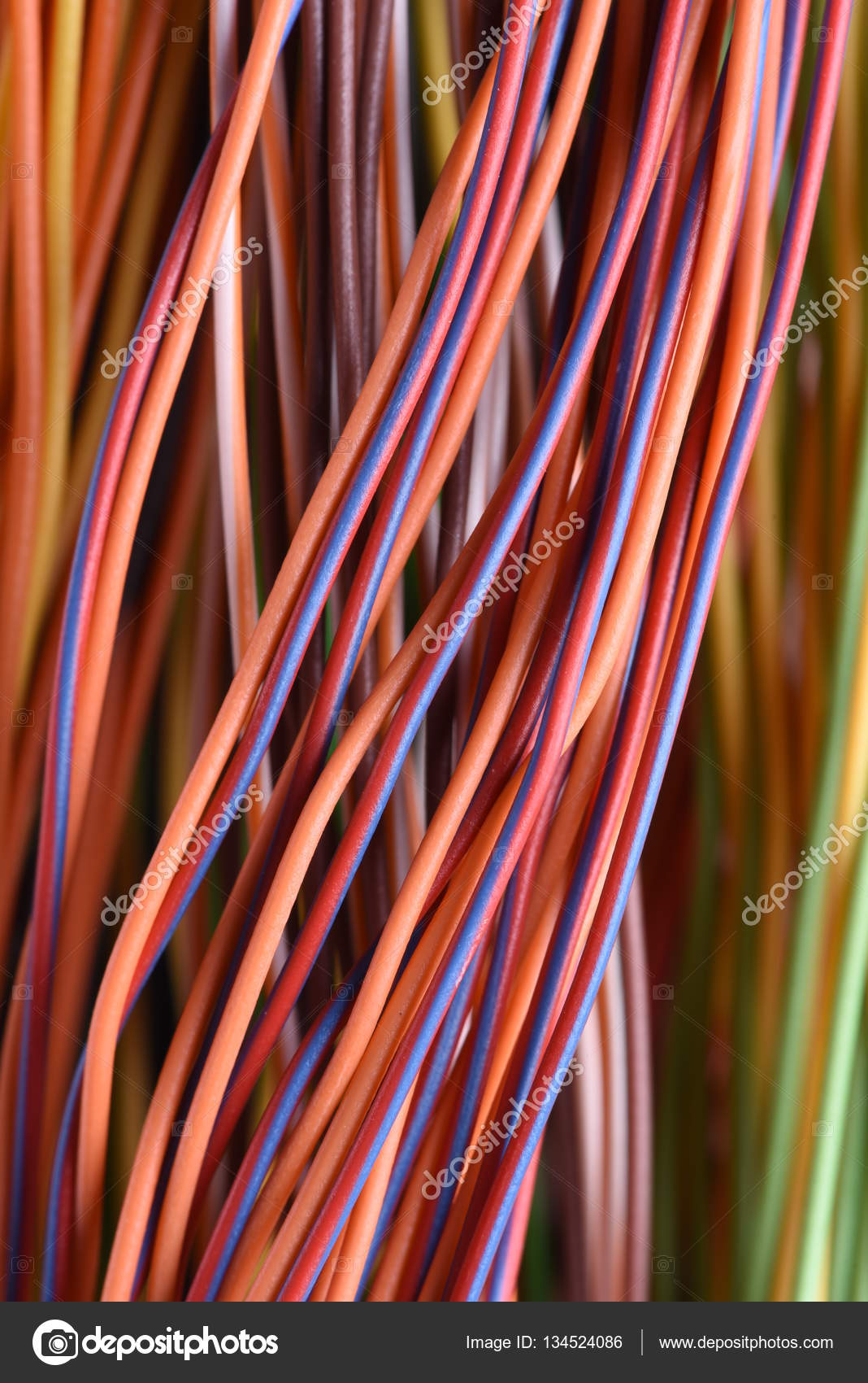 Colorful cable and wires of computer and internet network ... on