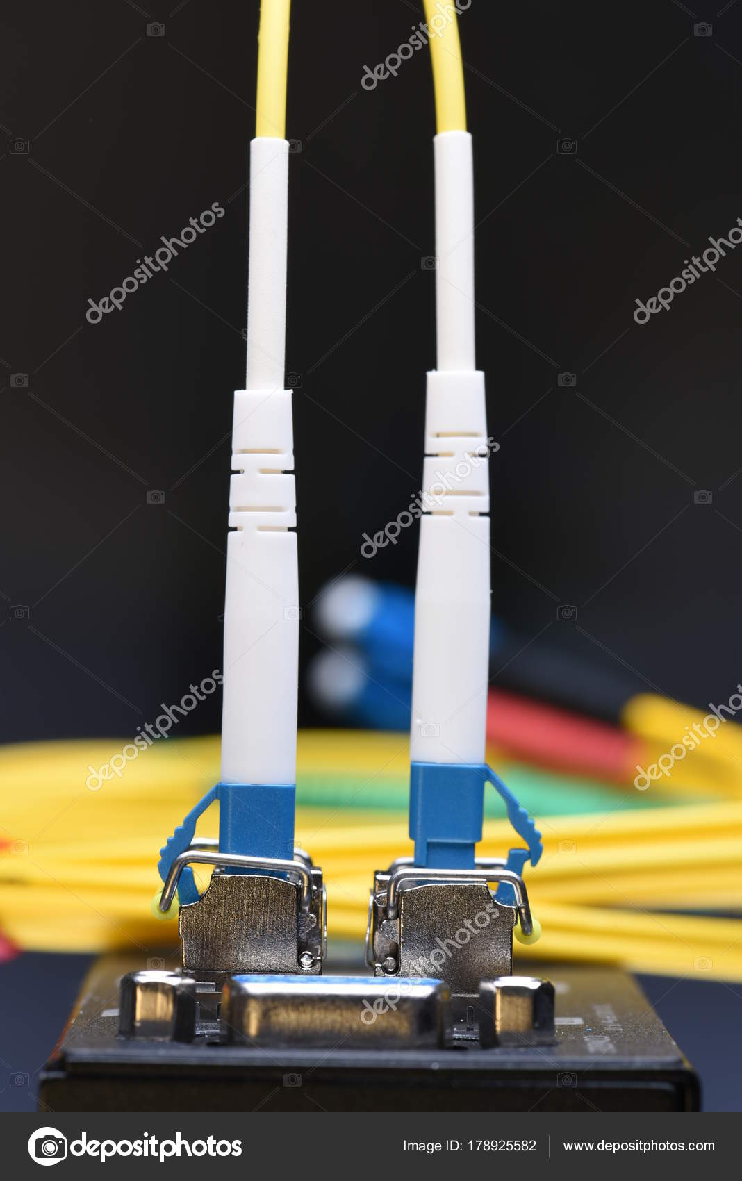 Internet Network Technology Fiber Optic Cable Connected Switch Data