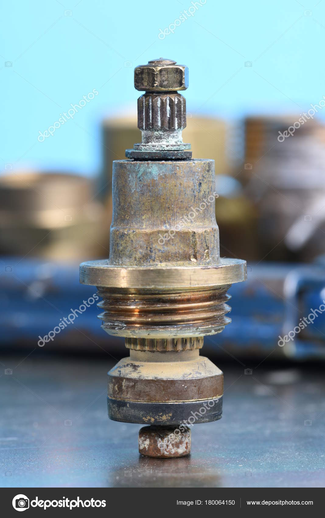 Plumbing Parts Repair Old Brass Tap Valve Tools — Stock Photo ...