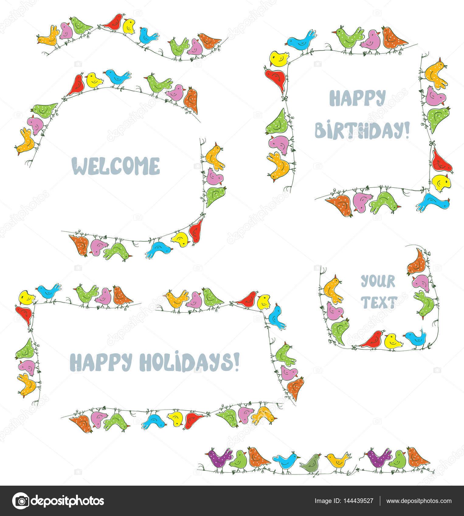 Marcos para eventos y fiestas con divertidos pájaros — Vector de ...