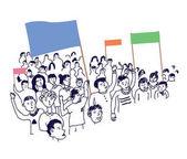 Lidé protestují s nápisy ilustrace
