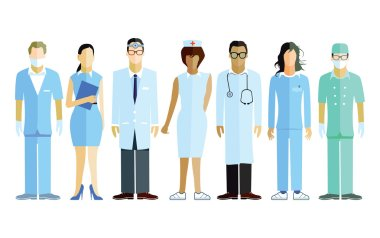 Group of doctors and nurses and medical staff stock vector