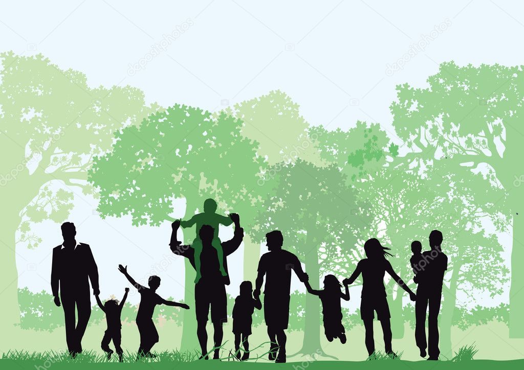Families with children in the forest stock vector