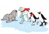 Photo Polar bear, penguin and walrus skating