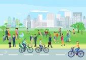 Lidé ve volném čase v parku
