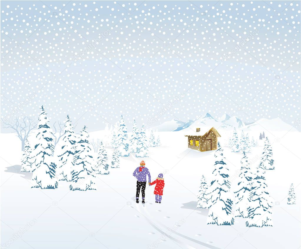 Father with child in winter landscape with snowfall