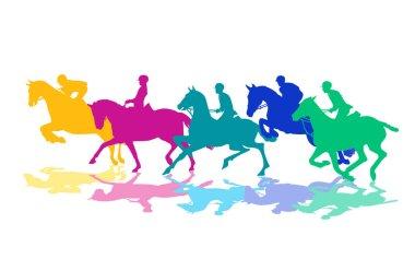 Horsemen with horses