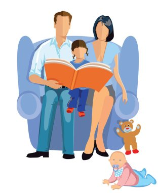 happy family reading a story to children