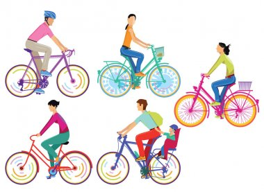 A group of cyclists Isolated on white