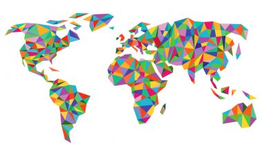 Colorful world map isolated