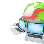 Laptopok, hálózati és föld globe