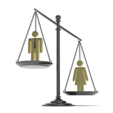 Pan scale with man and woman