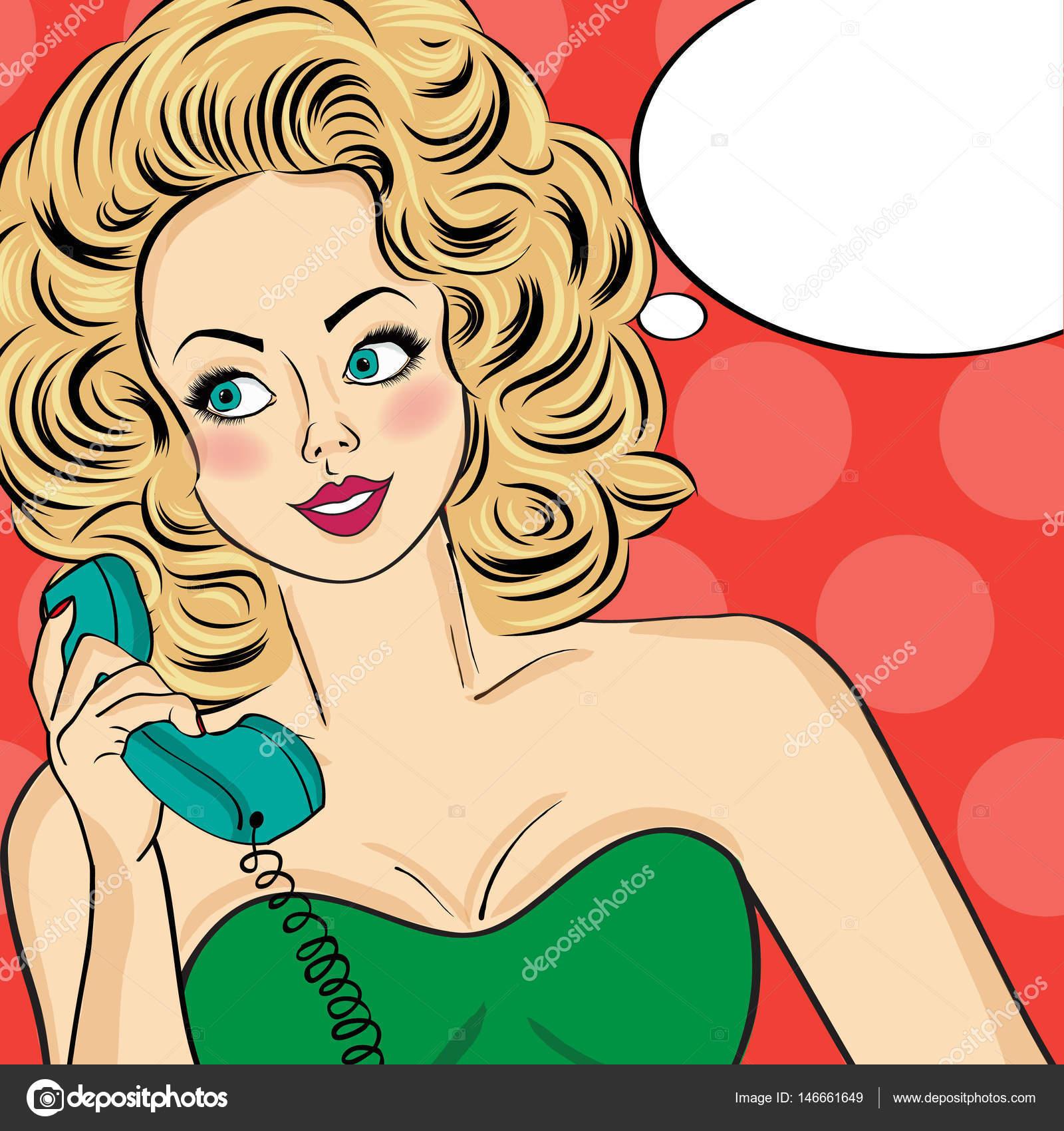 Sexy Pop-Art Frau in Partykleid sprechen auf eine Retro-Telefon und ...