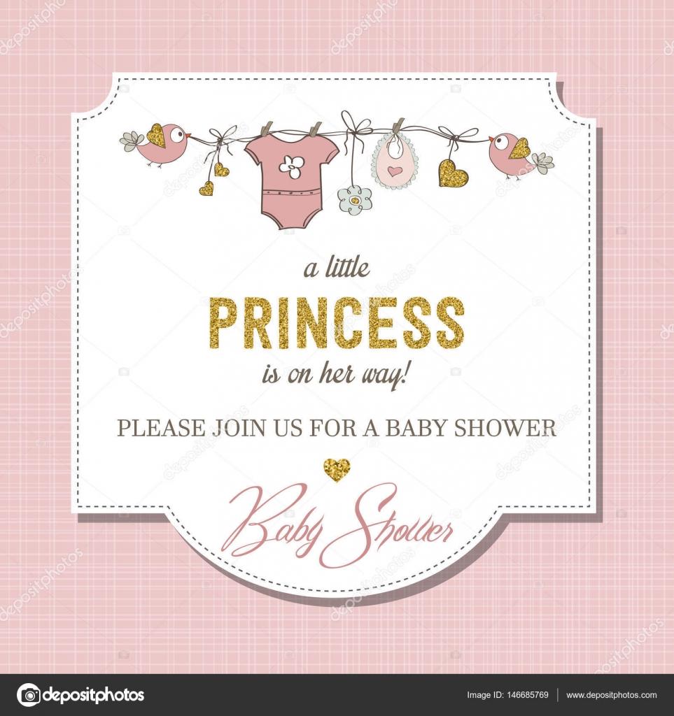 Schöne Baby Dusche Kartenvorlage mit golden glitzernden detai ...