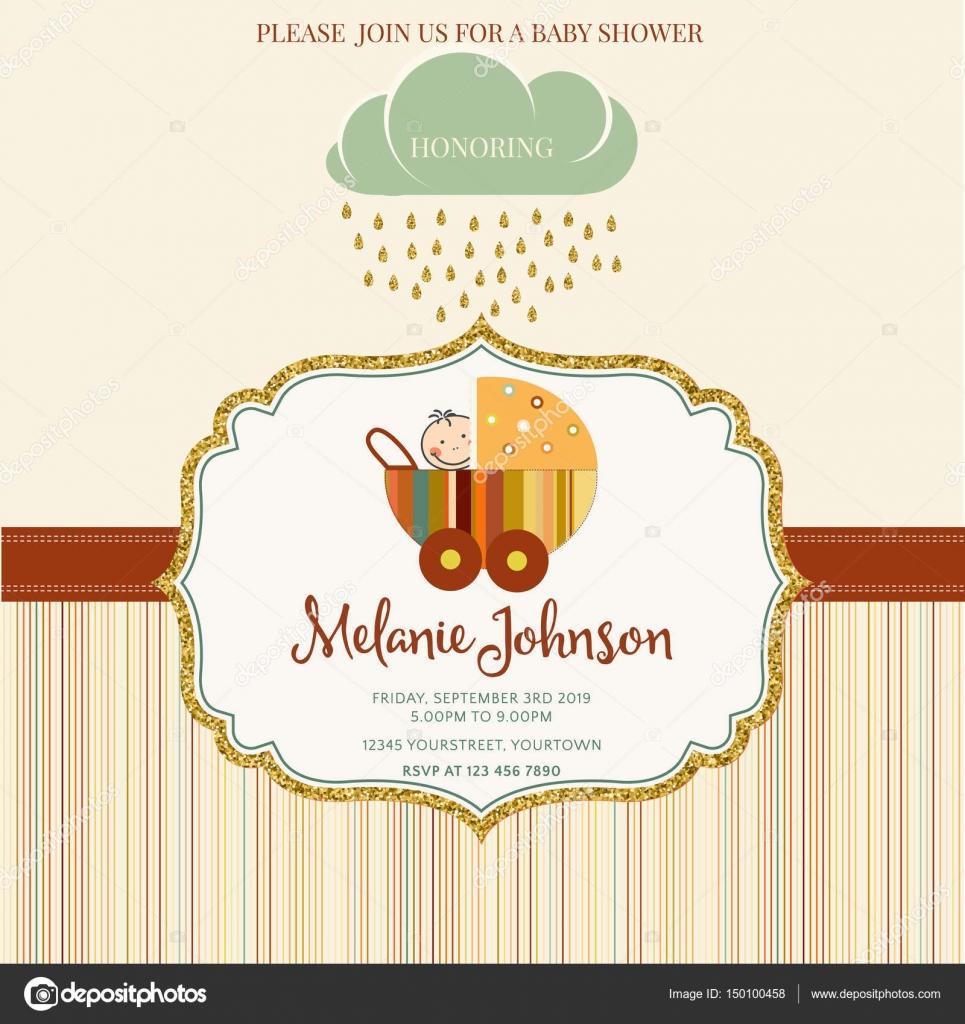 Schöne Baby Dusche Kartenvorlage mit golden glitzernden details ...