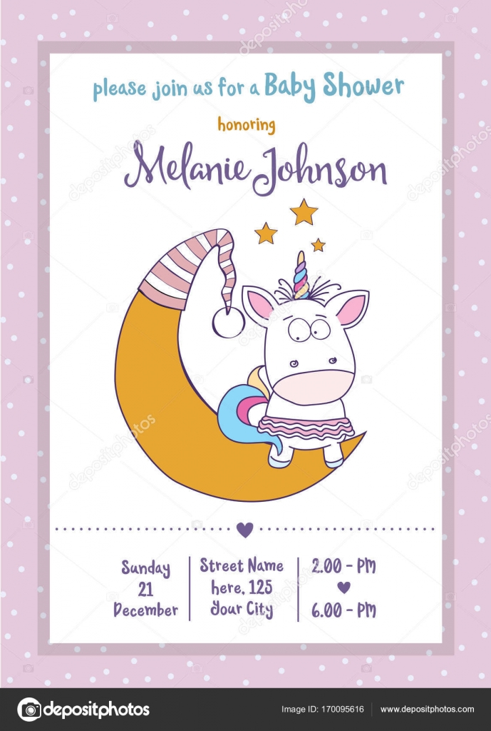 Beautiful Baby Shower Card Template With Lovely Baby Girl Unicor U2014 Stock  Vector