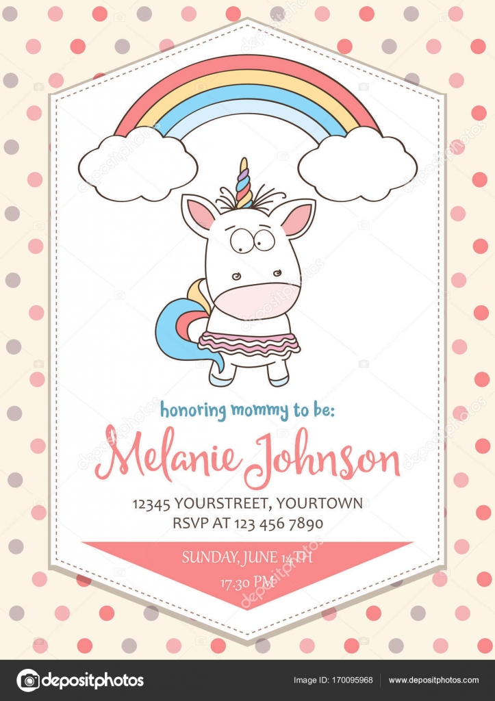 Beautiful Baby Shower Card Template With Lovely Unicorn Baby Gir U2014 Stock  Vector #170095968