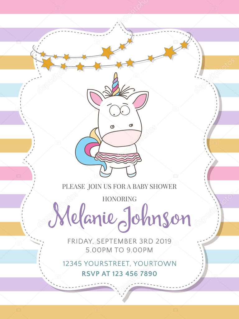 Schöne Baby Dusche Kartenvorlage mit schönen Baby Mädchen unicor ...