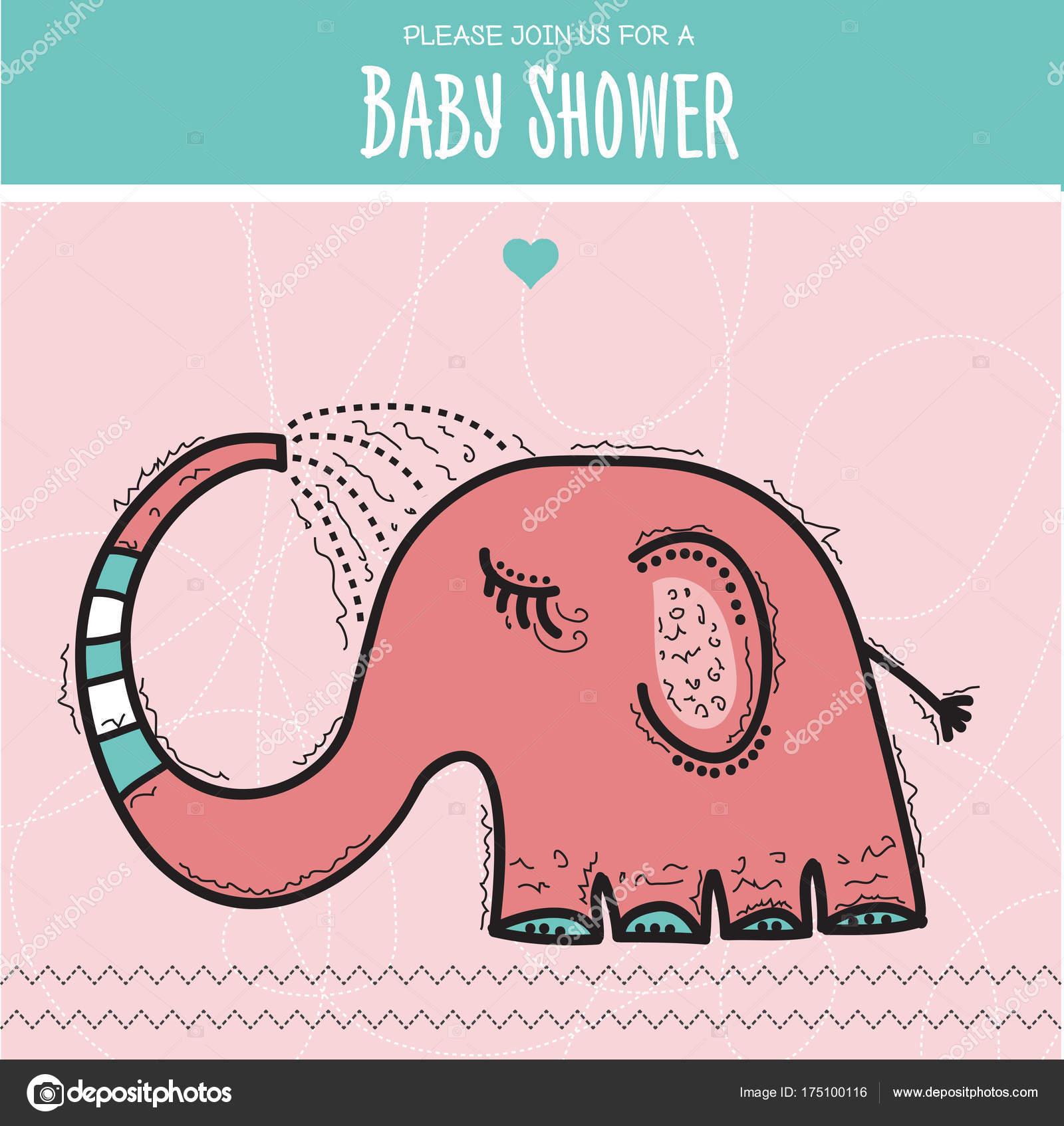 Baby Dusche Karte Vorlage Mit Lustigen Doodle Elefanten