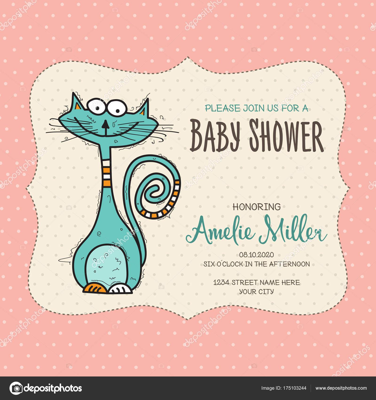 Baby-Dusche-Karte-Vorlage mit lustigen Doodle Katze — Stockvektor ...