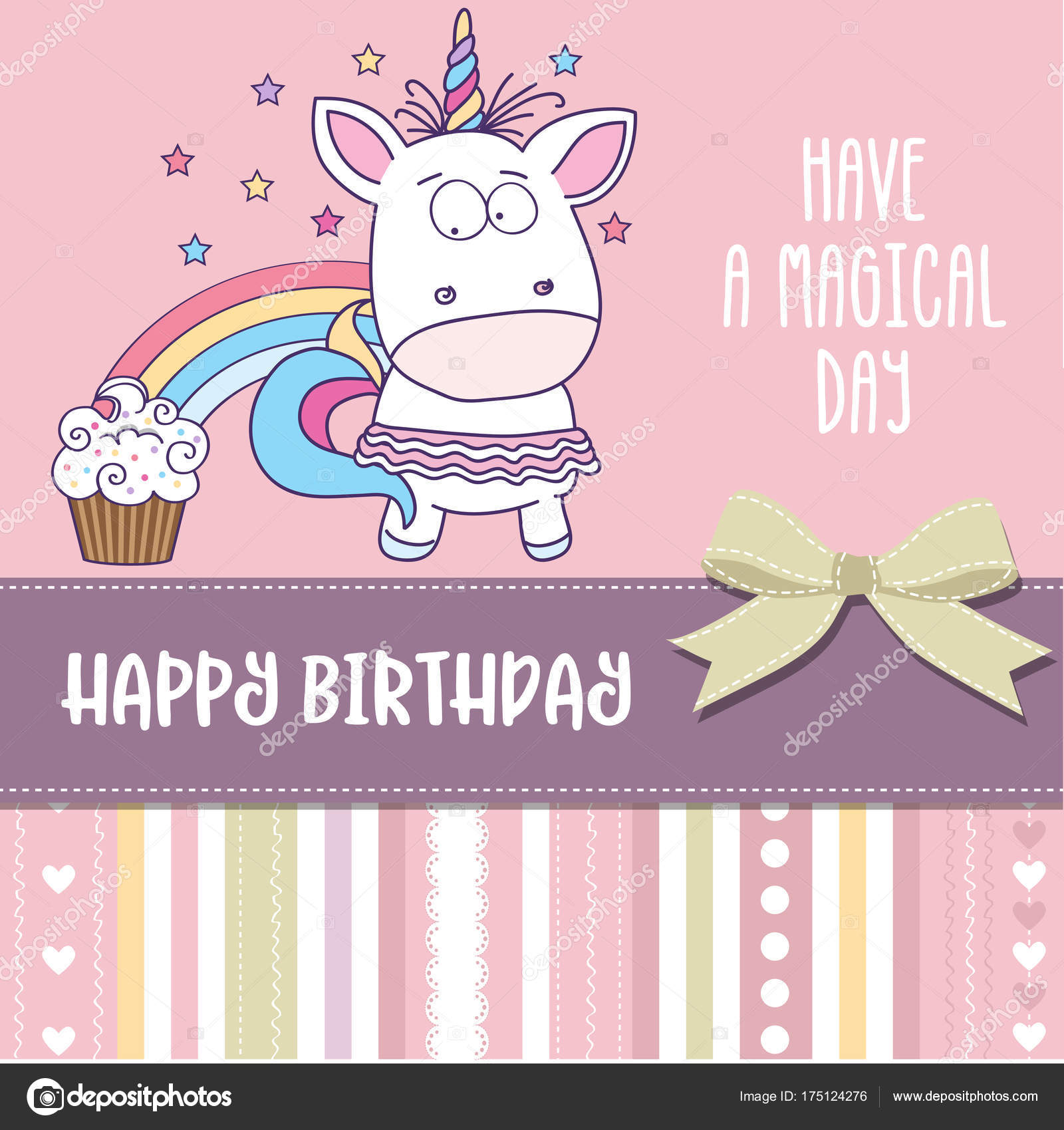 Happy Birthday Card With Lovely Baby Girl Unicorn Stock Vector