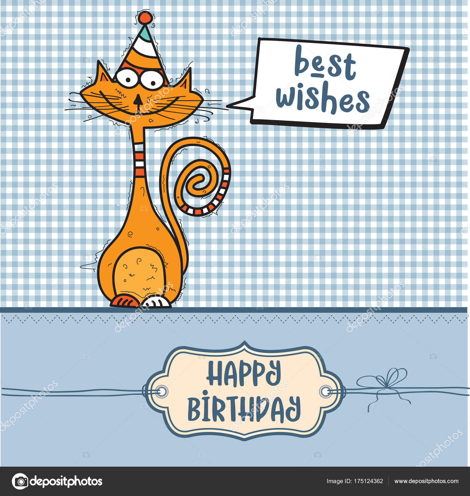 Happy birthday card with funny doodle cat happy birthday card with funny doodle cat voltagebd Images