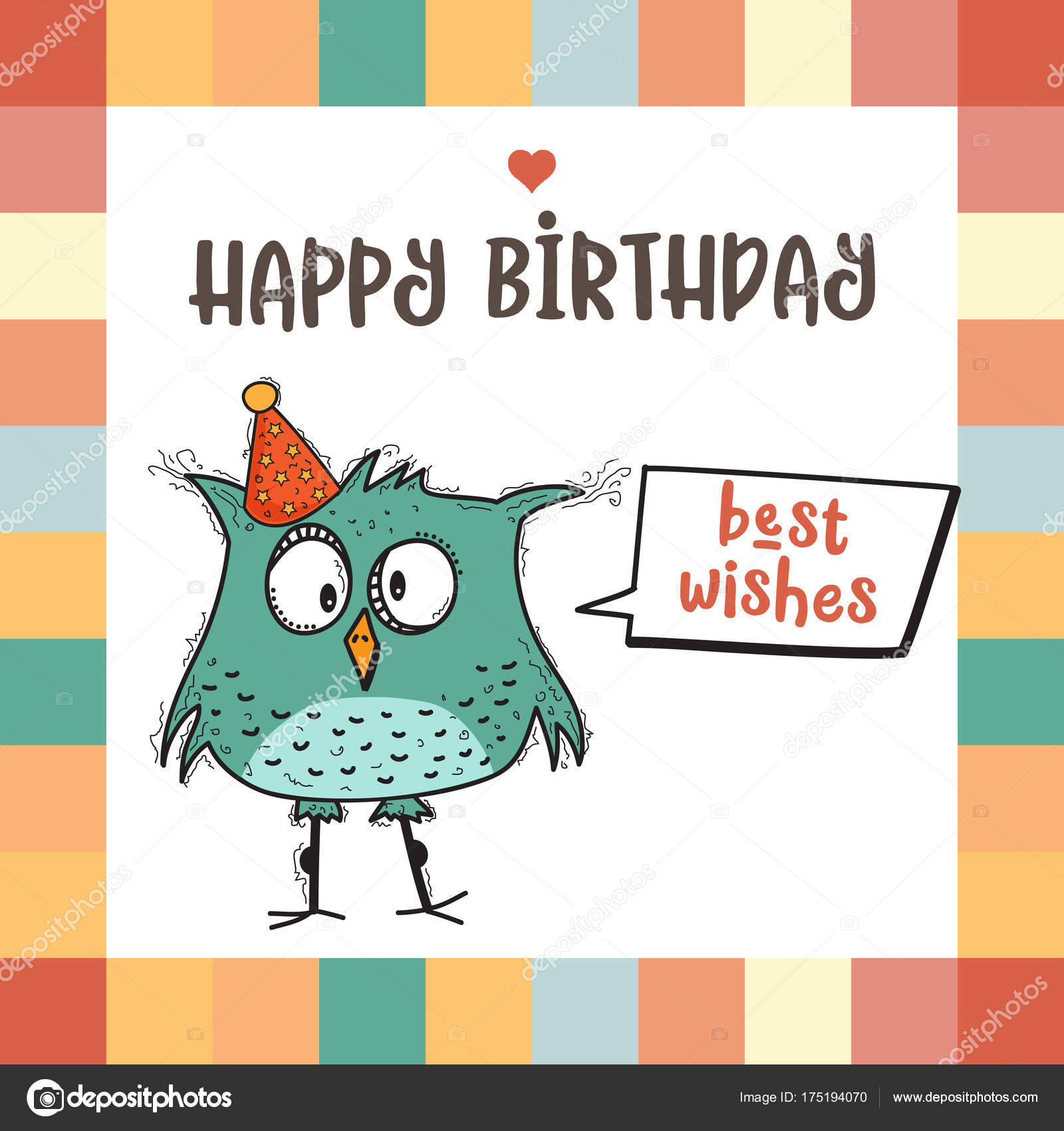 Gelukkige Verjaardag Kaart Met Grappige Doodle Vogel Stockvector
