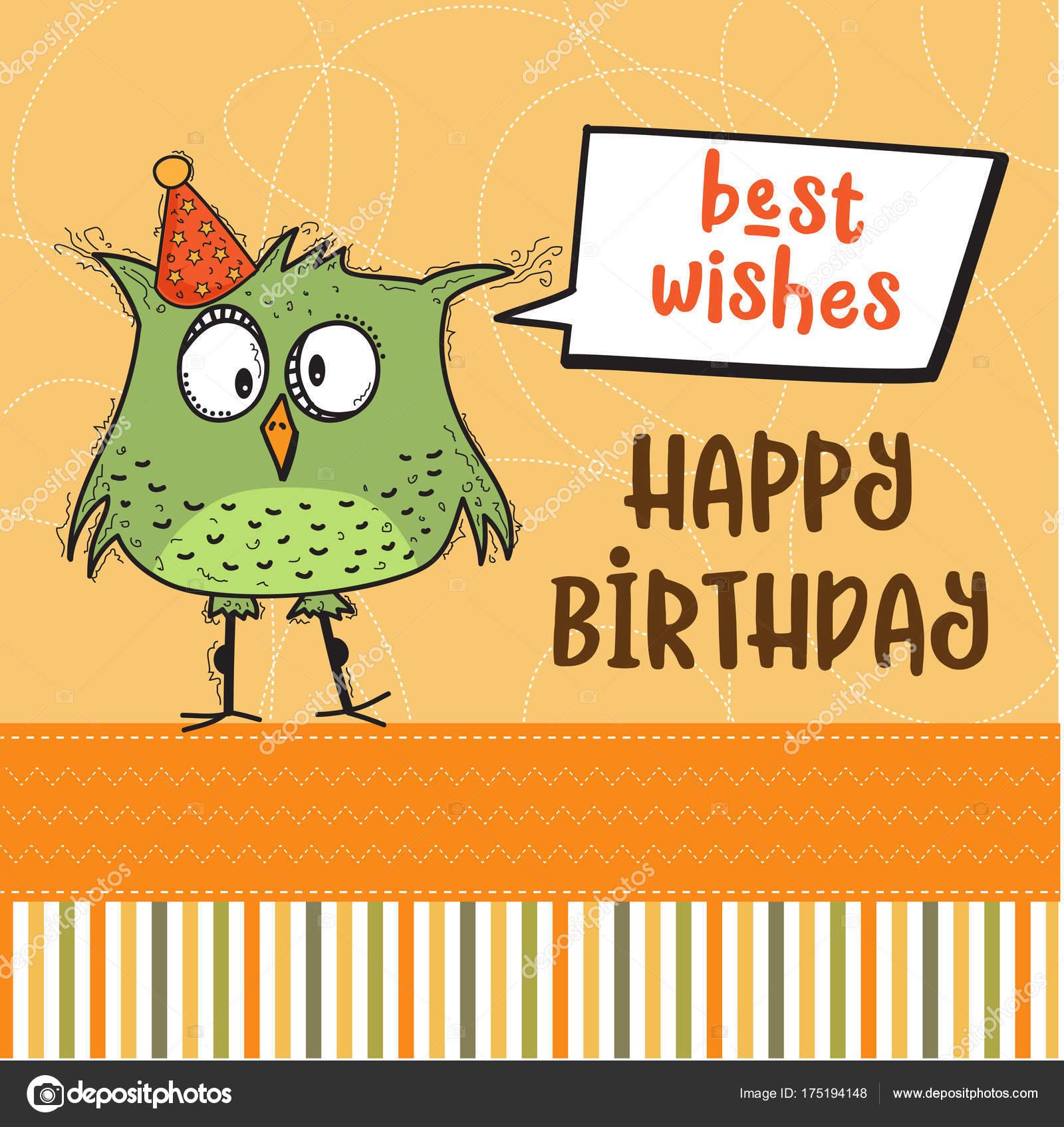 boldog szuletesnapot vicces Boldog születésnapot kártya vicces doodle madár — Stock Vektor  boldog szuletesnapot vicces