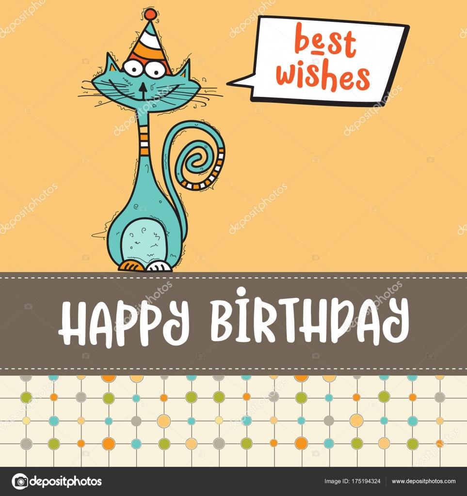 Fabuloso cartão de feliz aniversário com doodle engraçado gato — Vetores de  GN59