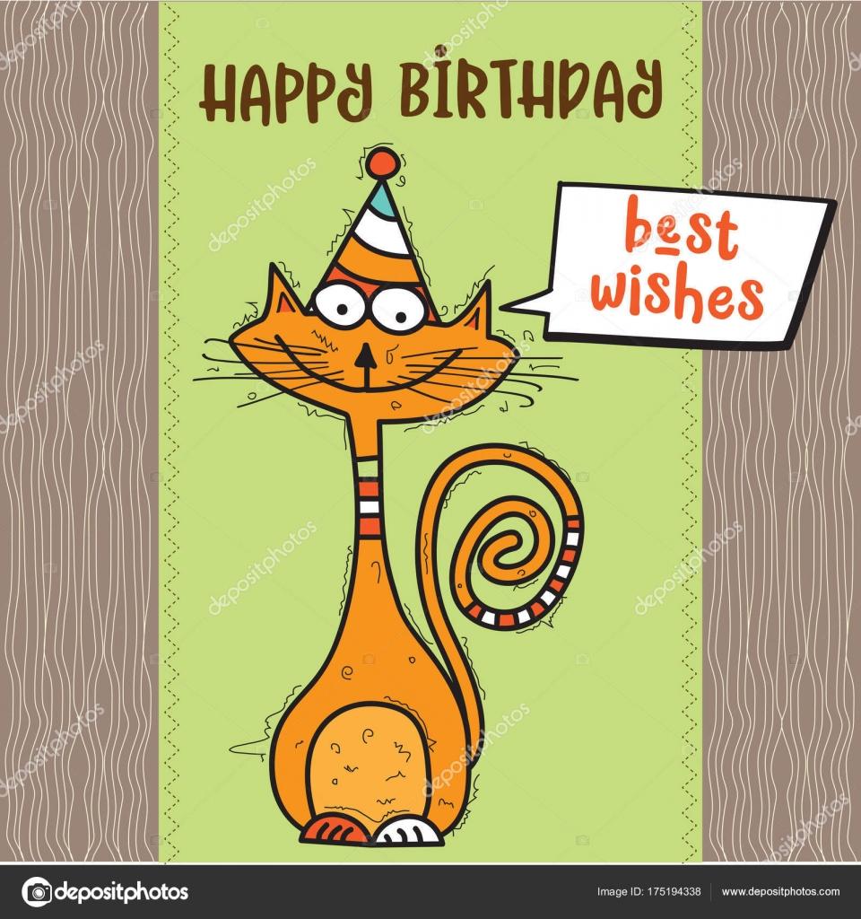 Top cartão de feliz aniversário com doodle engraçado gato — Vetor de  ET85