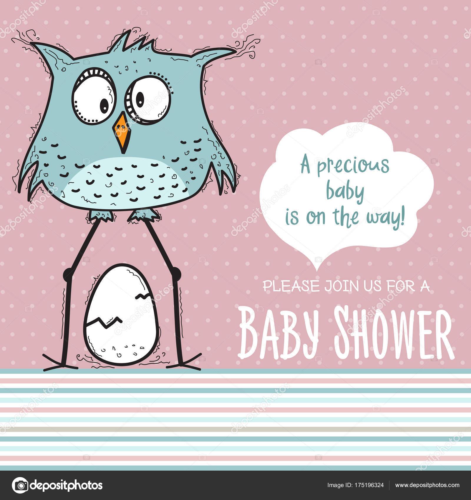 Baby Shower Card Template | Baby Shower Card Template Funny Doodle Bird Vector Format Stock