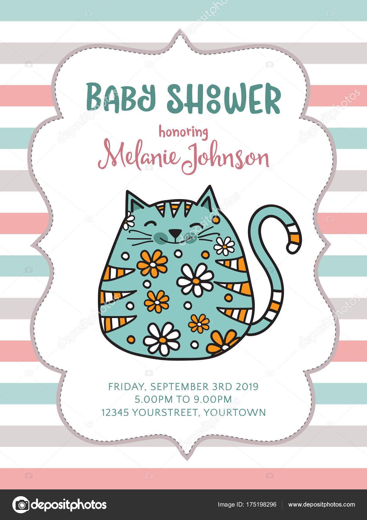 Baby Dusche Karte Vorlage Mit Fett Doodle Katze Vektor Format ...