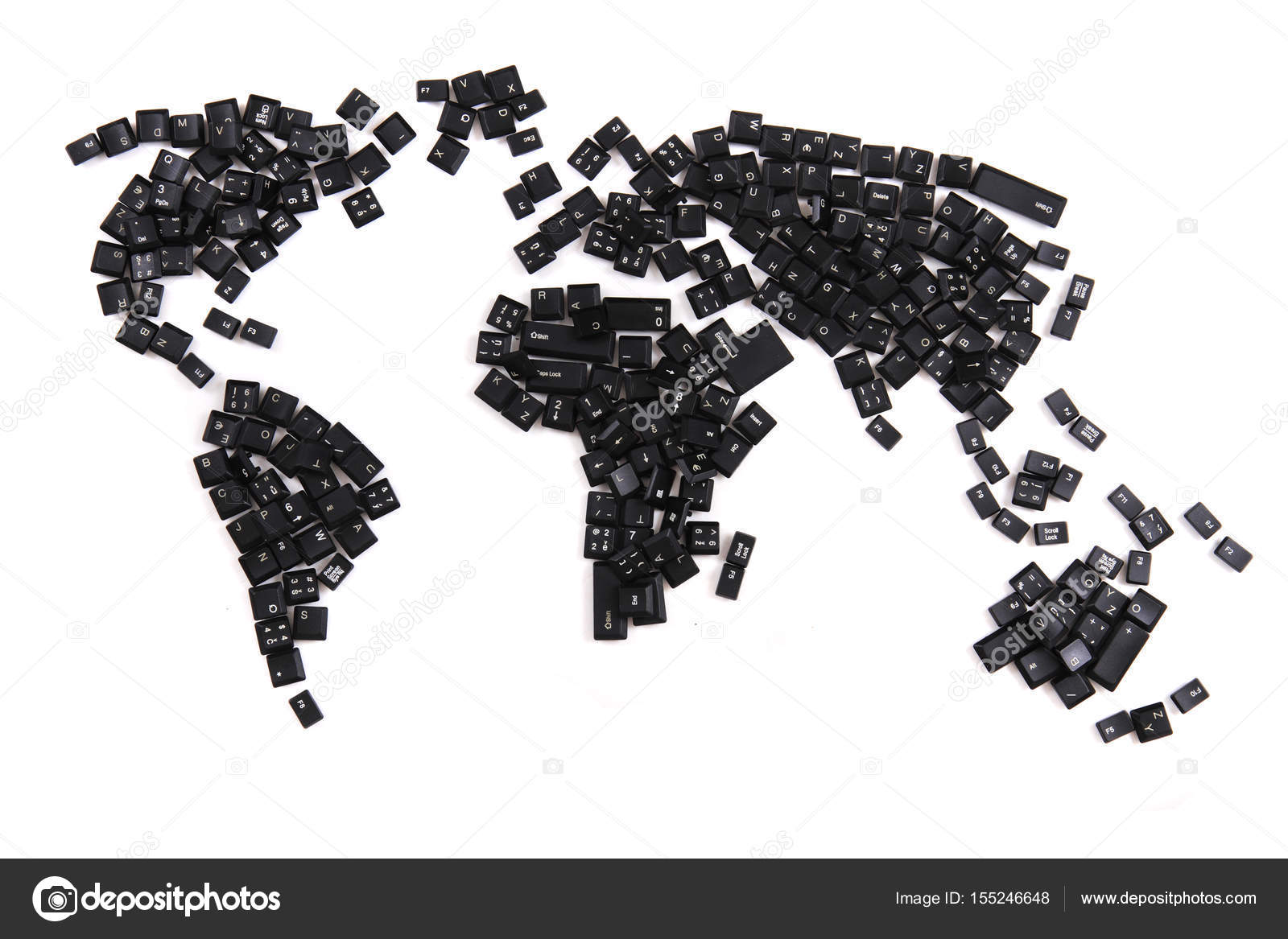 Black keyboard keys as world map stock photo jonnysek 155246648 black keyboard keys as world map isolated on the white background photo by jonnysek gumiabroncs Gallery
