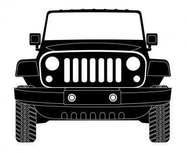 Jeep silhouette in front