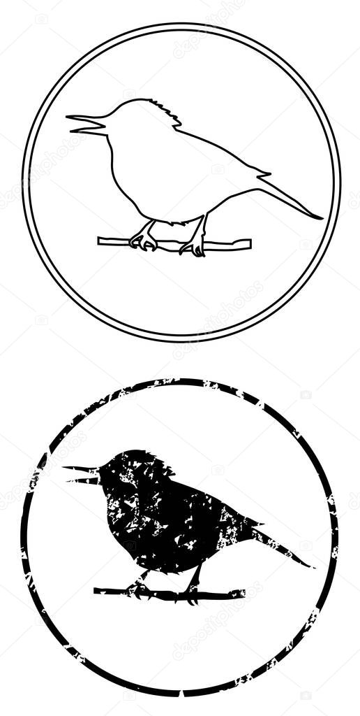 black the bird on branch icon