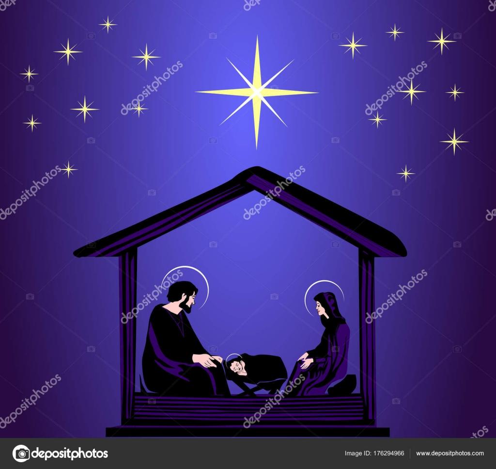 Christmas Christian Nativity Scene Baby Jesus Manger Silhouette Star
