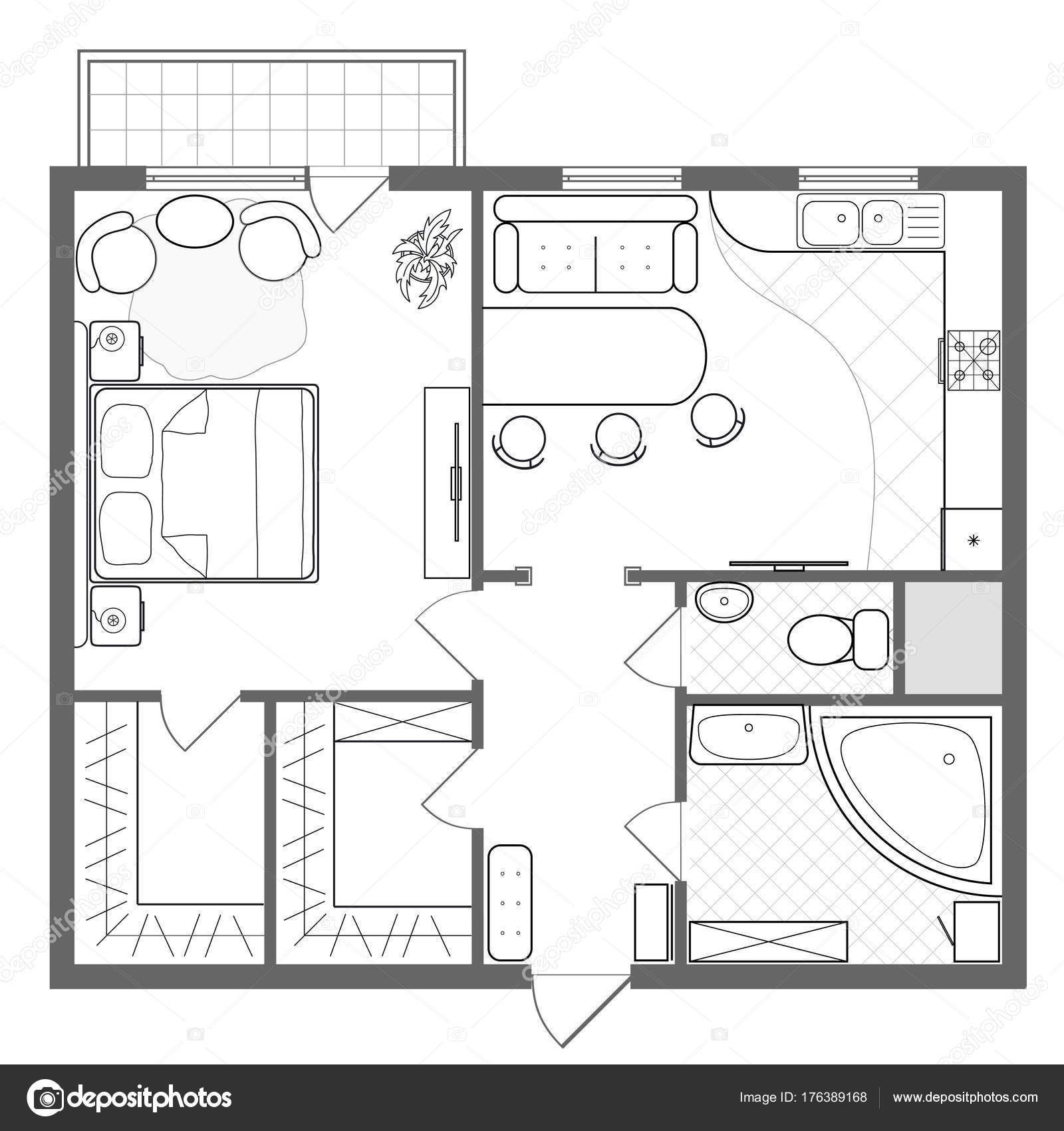 Architectural plan of a house. Professional layout of the apartment ...